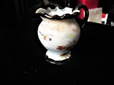 ANTIQUE HANDPAINTED BIRD JUG ORIENTAL DENSE BLACK BAMBOO HANDLE & RIMS SIGNED